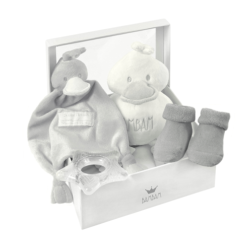 BamBam gift box gray, with tuttle, cuddle, socks and teether