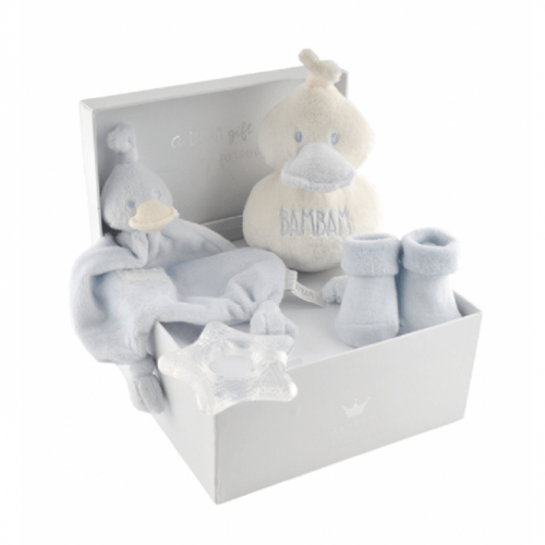 BamBam gift box blue, with tuttle, cuddle, socks and teether