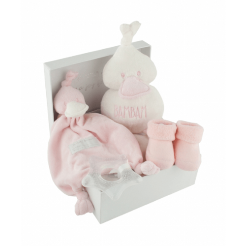 BamBam gift box pink, with tuttle, cuddle, socks and teether