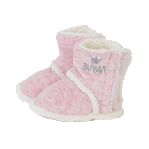 bambam booties in pink with white inside