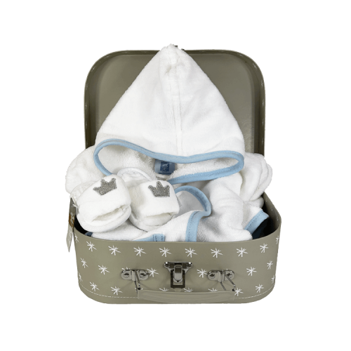 Grey suitcase with personalised white bathrobe and white hotel slippers