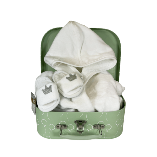 Mint green suitcase with personalised white bathrobe and white hotel slippers