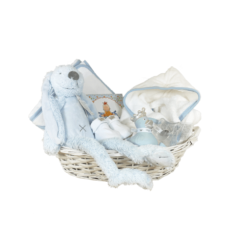 White basket with bathrobe and hooded towel white with blue piping, blue rubber duck, socks and book pauline old baby's first year