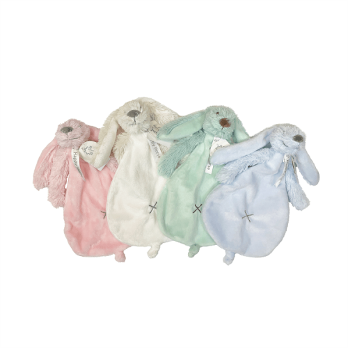 4 rabbit richies tuttles on a row: pink, ivory, mint green and blue