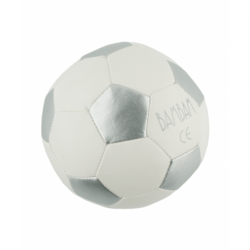 bambam football in white with silver surfaces