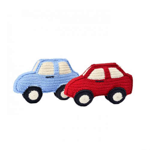 Anne Claire Petit - crocheted cars red and blue