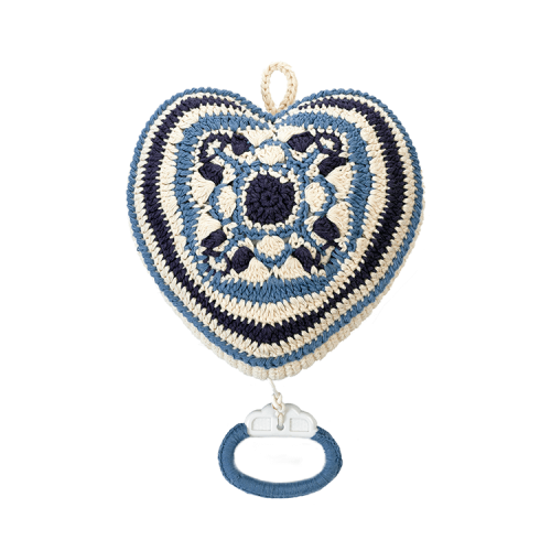 Anne Claire Petit - crocheted music heart in delft blue motif
