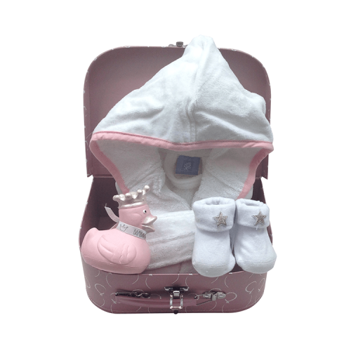 pink suitcase with personalised white bathrobe with pink piping, white socks and a pink rubber duck