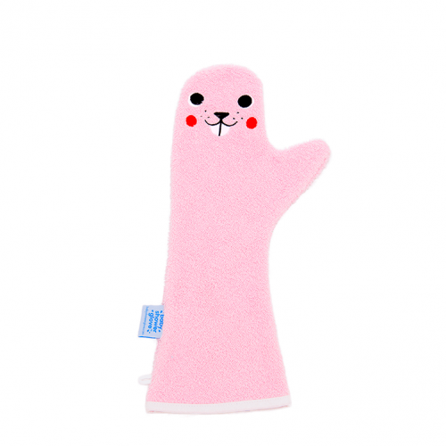 Baby Shower Glove, beaver in roze