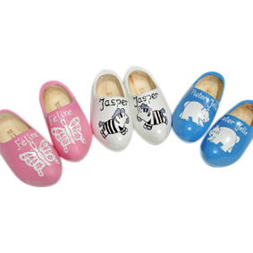 3x hand-painted wooden clogs. Pink with white butterfly, white with zebra, blue with polar bear
