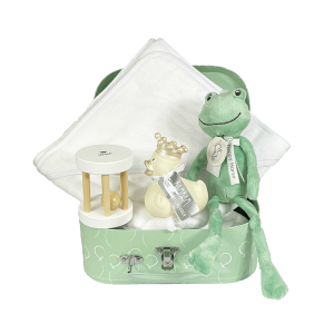 Mint green suitcase containing a white hooded towel with blue piping, happy horse cuddly toy Frog Flavio no1, a wooden ratchet with a ball in it and a rubber duck in the color ivory