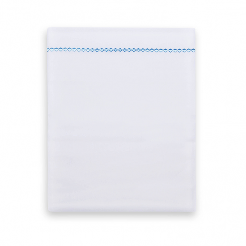 Crib sheet from Funnies in white with a blue piping with small checks