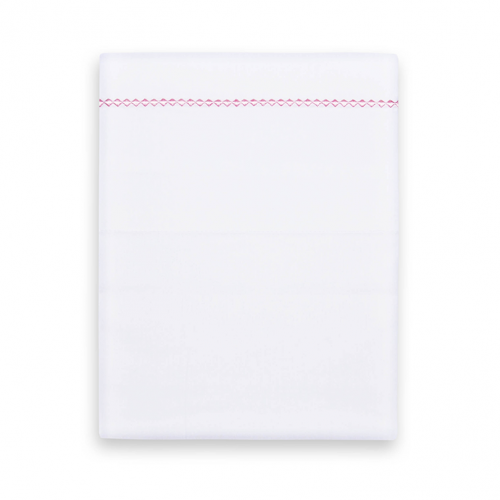 Crib sheet from Funnies in white with a light pink piping with small checks