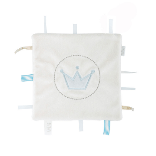 white cuddle cloth (BamBam) with little labels on the sides