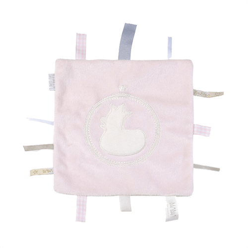 Light pink cuddle cloth by BamBam with labels on the sides
