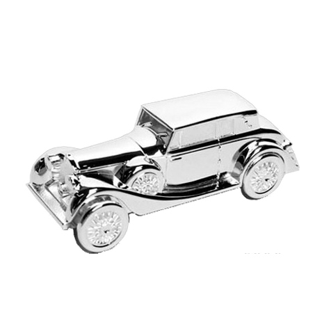 Silver-plated money box in the shape of a car