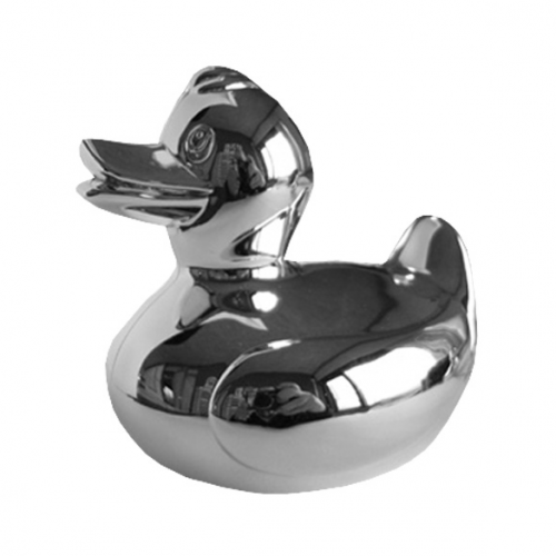Silver-plated piggy bank in the shape of a duck