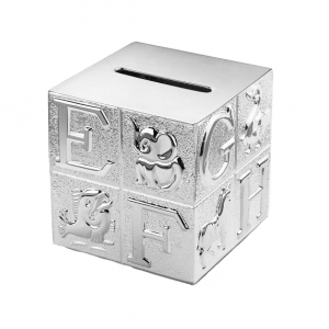Silver-plated piggy bank in the shape of a cube with letters and animals