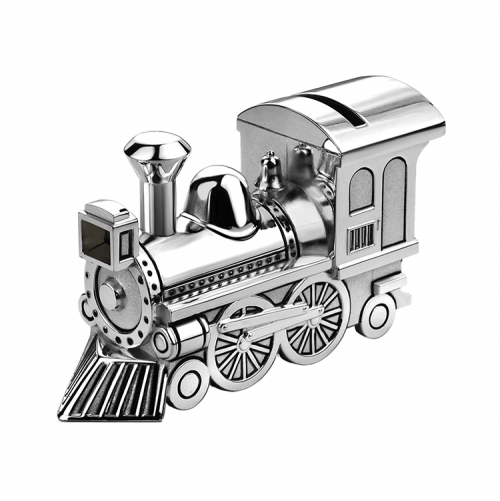 Silver plated money box in the shape of a locomotive