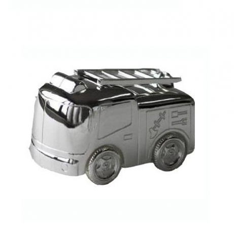 Silver-plated money box in the shape of a firetruck
