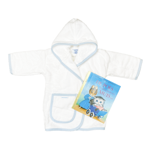 white bathrobe with blue trim with a Golden Book of choice