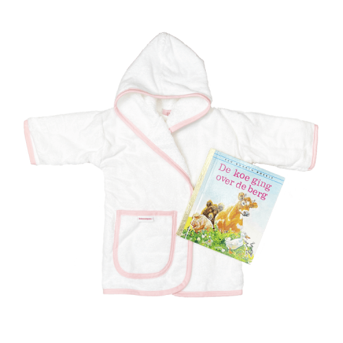 white bathrobe with pink trim with a Golden Book of choice