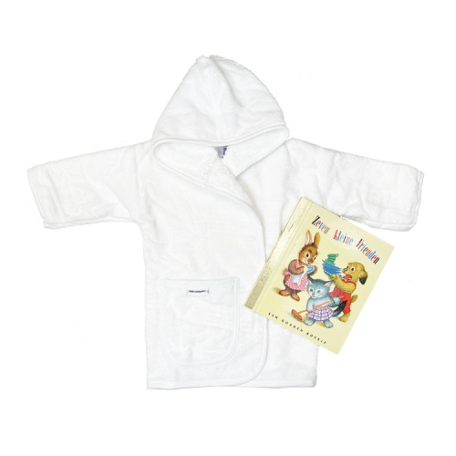 white bathrobe with a Golden Book of choice