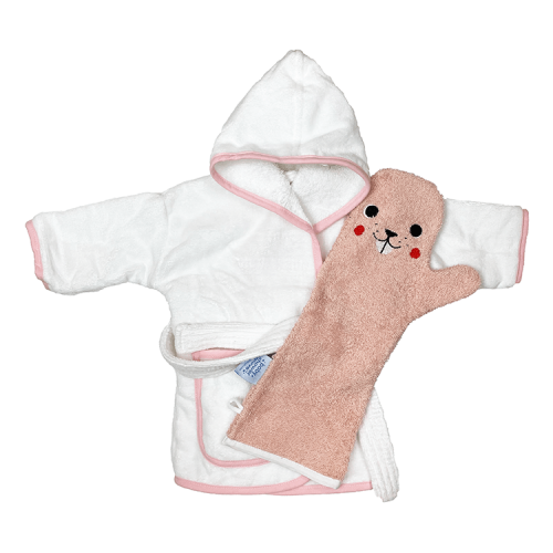 Bathrobe pink piping with shower glove pink