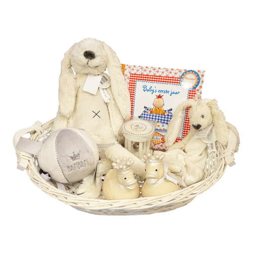 Basket, Happy Horse Rabbit Richie with name, Happy Horse tuttle, 2 rubber ducks, ball with rattle, rattle and babies first year Pauline Oud - ivory