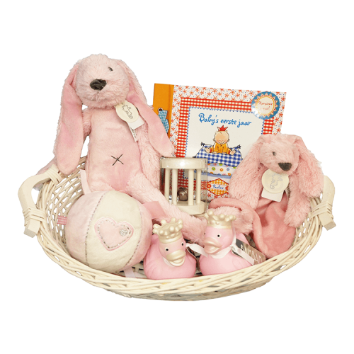 Basket, Happy Horse Rabbit Richie with name, Happy Horse tuttle, 2 rubber ducks, ball with rattle, rattle and babies first year Pauline Oud - pink