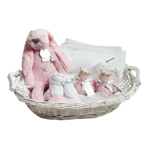 White basket with Happy Horse Rabbit Richie, bath cape, 2 rubber ducks, socks - pink