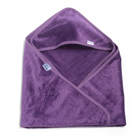 hooded baby towel in purple