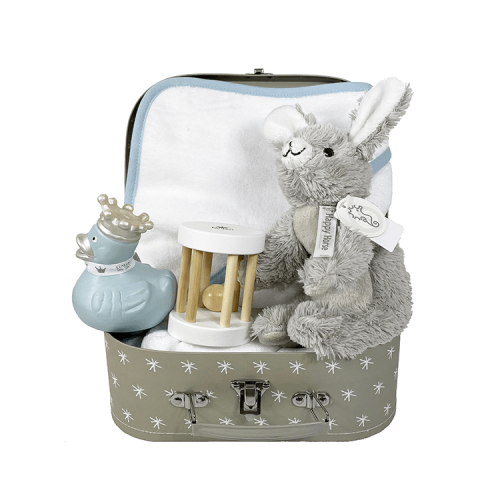 Small grey suitcase with white stars. Includes a bath cape with blue stripe with name, wooden rattle and a blue bamboo duck and rabbit rio from Happy Horse