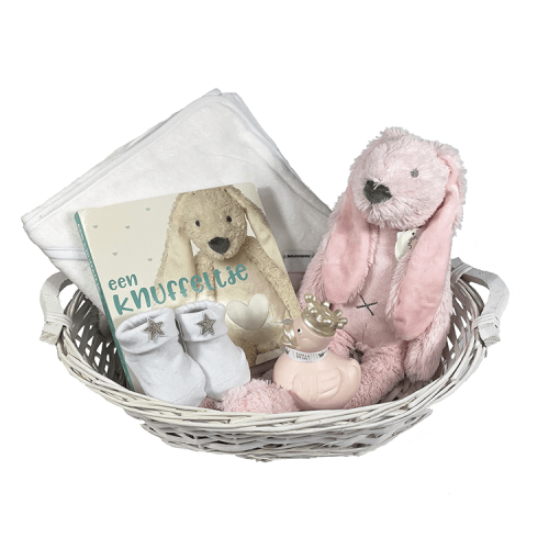 Basket 'Badcape Richie': white wicker basket, containing a white hooded towel with a name embroidered on it, Happy Horse Rabbit Richie pink, pink rubber duck and white socks from BamBam and a feel booklet from Happy Horse, with small coats of different cuddly toys